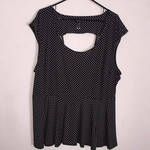 Torrid Black With White Polka Dots Peplum Top